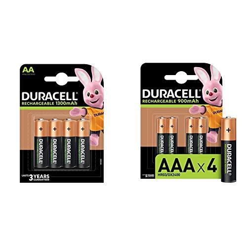 Duracell HR6 / DC1500 Pack de 4 Piles AA 1300 mAh & Piles Rechargeables AAA 900 mAh, Lot de 4 Piles