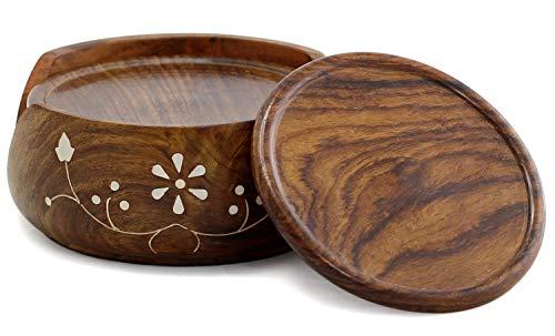 Bignay - Set di 6 sottobicchieri rotondi e porta sottobicchieri in legno, accessori da tavolo, per casa e ufficio