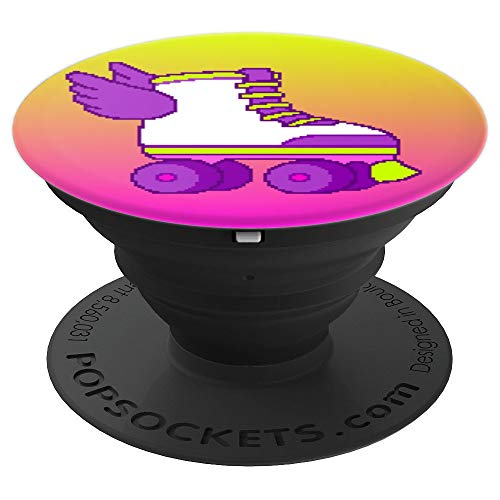 Cute Gamer Girl Retro 8-Bit Roller Skates Video Game Gift PopSockets Grip and Stand for Phones and Tablets