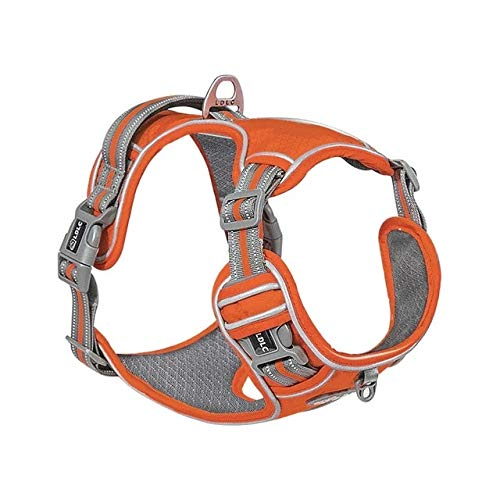 XL Orange Reflective Nylon Pet Dog Harness All Weather Service Dog Ves Padded Adjustable Safety Vehicular Lead For Large Medium Small Dogs