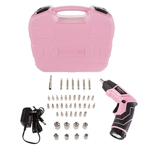 Stalwart - 75-PT1031 Pivoting Screwdriver 45 Pc. Set-Pivoting Cordless Power Tool with Rechargeable 3.6V Lithium Battery, LED Lights, Bits, Sockets, and Case by Pink