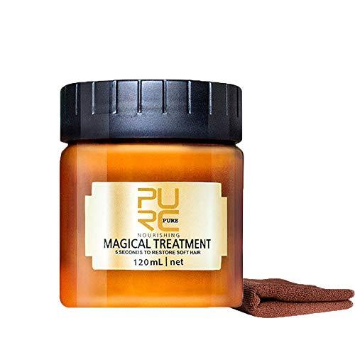 Masque capillaire magique Hair masque 120ml avec Serviette Conditionneur Profond argan oil Nourrissant Doux Lisse Réparation Dommages douce Masque cheveux secs et abimés (Ensemble de combinaison)