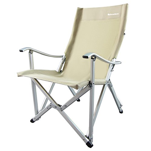 OnwaySports Aluminum Frame Camping Chair Lightweight Foldable Portable for Camping in Khaki