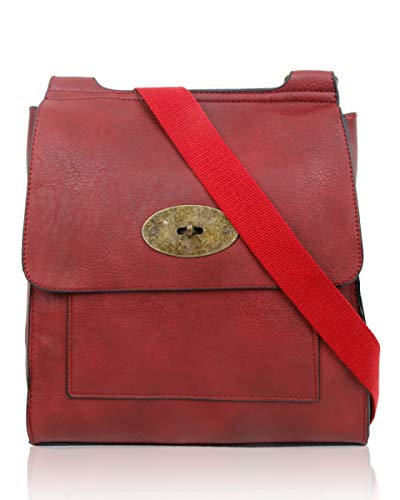 Turnlock Shoulder Bag, LeahWard Twist Lock Cross Body Messenger Bag,Cross Body Bag For Women (Burgundy)