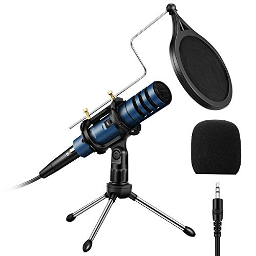 PC Micrófono, EIVOTOR Micrófono de Condensador con Conector de Audio de 3.5 mm, Plug and Play, Adecuado para Computadoras Portátiles, Teléfonos, Canto, Youtube (Azul)