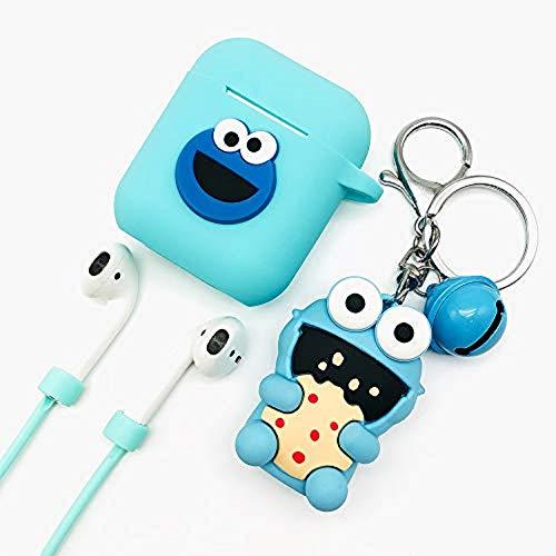 Ztowoto Airpods Case Keychain Funda Protectora de Silicona y Piel para Apple Airpods Estuche de Carga con Airpods Pet Keychain y Airpods Staps (Verde Menta-lanhuzi)