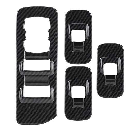 Adornos para panel de interruptor de ventana, 4 piezas de fibra de carbono, estilo interior de coche, diseño de elevador de ventana, panel de ajuste, para F150 2015-2020