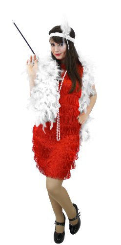 I LOVE FANCY DRESS LTD Damen-Kostüm, Flaker-Kostüm-Set im Stil der 20er-Jahre, mit Federboge, Kopfbedeckung, Zigarrette-Halter und Perlen-Perlen, Charlston-Kleid