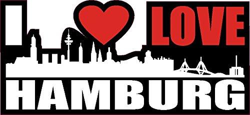 1 x Aufkleber I Love Hamburg Skyline Sticker Autoaufkleber Tuning Stickerbomb