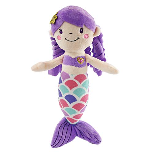 Athoinsu Mermaid Princess Stuffed Animals Soft Plush Toys Doll Birthday Valentines Children's Day for Toddler Girls, 12'' (Purple)