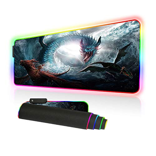 BigTech RGB Gaming Mouse Pad with 10 Lighting Modes Extended Mat Desk Pad Mousepad Long Non-Slip Rubber Mice Pads Stitched Edges 800x300mm 31.5'x11.8' (K-Long)