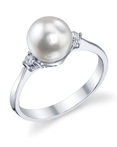 The Pearl Source oro 14 quilates (585) oro blanco redonda Perlas akoya perla