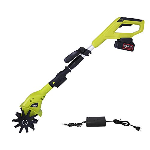 Vilobos 20V Cordless Electric Garden Tiller/Cultivator Height Adjustable with 2.0 Ah Lithium Battery and Charger -Chartreuse