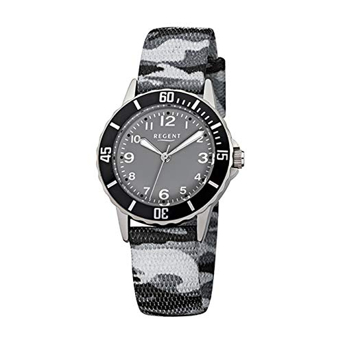 Regent Kinder-Armbanduhr Elegant Analog Textil-Armband grau schwarz camouflage Quarz-Uhr Ziffernblatt schwarz URF941