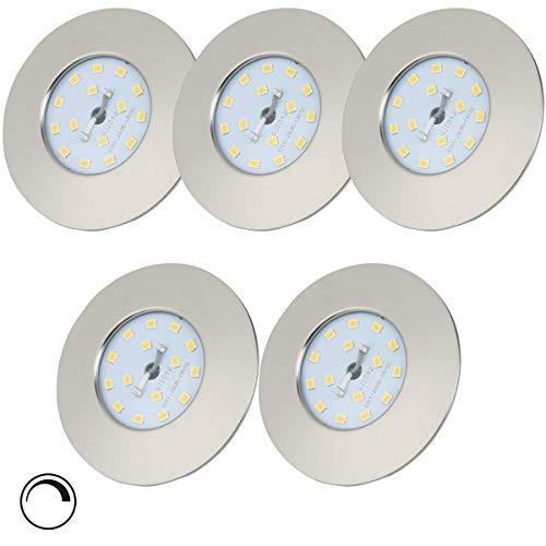 LED Einbaustrahler 230V Dimmbar Ultra Flach 5,5W 5er Set LED Spot Warmweiß Spots LED Set - LED Einbauleuchten LED Badeinbaustrahler - IP44 400lm 3000K Matt-Nickel