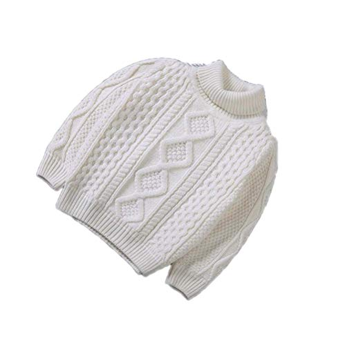 Baby Boys Warm Pullovers Plush Inside Sweaters Girls Winter Turtleneck Knitted Loose Jacket White H 12M