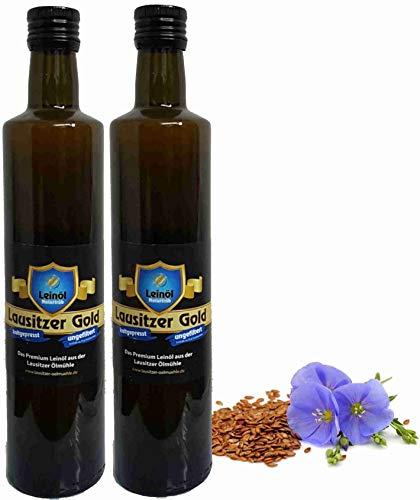 Leinöl Lausitzer Speiseleinöl Lausitzer Gold 2 x 500 ml ungefiltertes Premium Leinöl kaltgepresst und frisch abgefüllt