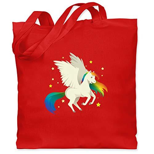 Comic Shirts - Pegasus - Unisize - Rot - Statement - WM101 - Stoffbeutel aus Baumwolle Jutebeutel lange Henkel