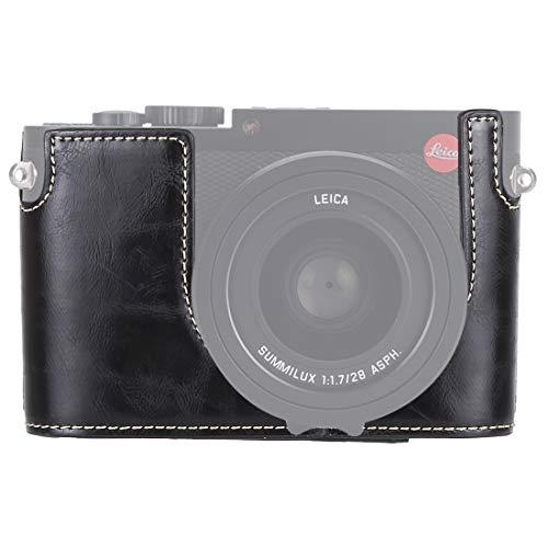 JiJiWuMing Kameratasche SUS 1/4 Zoll Gewinde PU-Leder-Kamera Halbfallbasis for Leica Q (Typ 116) (Schwarz) Zubehör (Color : Black)