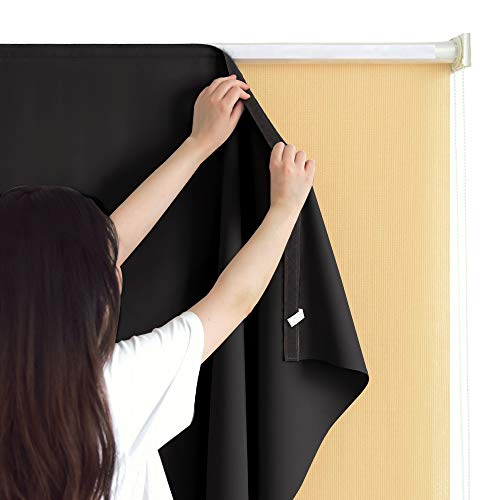 RYB HOME Blackout Liner Match with Roller Blinds for Outdoor Indoor Use, Curtain Drape for Patio/Gazebo Waterproof Block Sunlight & Reduce Heat with Self - Adhesive Top for Pergola, 6 x 6 ft, Black