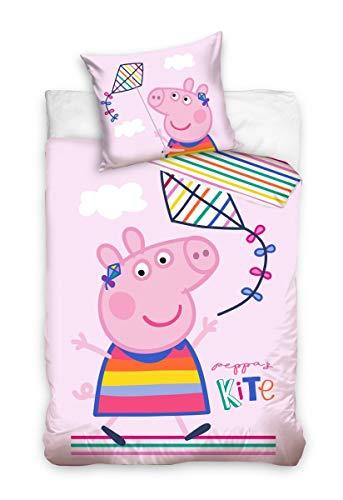 Juego de ropa de cama para bebé, 2 piezas, 100% algodón, tamaño: 100 x 135 cm, 40 x 60 cm, certificado Öko-Tex Standard 100, dragón Peppa Pig