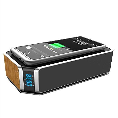 LIGHTOP Bluetooth 4.0 Lautsprecher Wireless Speakers 10W Kabelloser Tragbarer Lautsprecher mit reinem Bass mit Mikrofon Qi Induktive Ladestation für iPhone 8/X Samsung Galaxy S6/S7