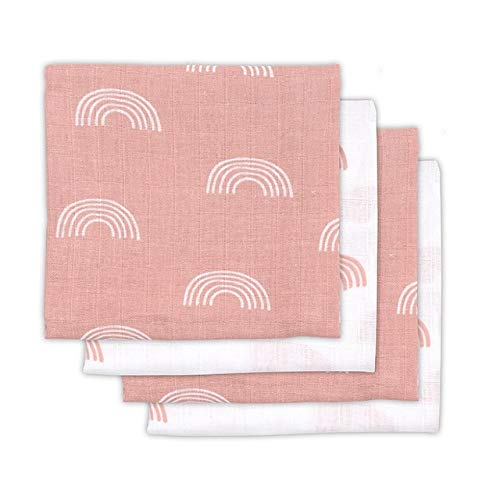 Jollein 535-851-65289 Rainbow Blush - Pañales de gasa, 4 unidades, color rosa, talla 70 x 70 cm.