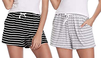 Hawiton 1 & 2 PCS Women Striped Cotton Sleeping Pajama Bottoms Exercise Fitness Shorts (Black+Grey, L)