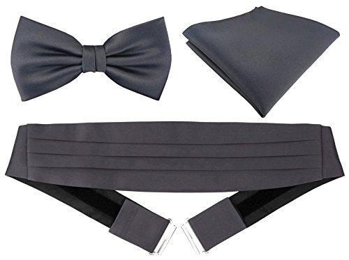 TigerTie – Faja de esmoquin + pañuelo de bolsillo + pajarita en diferentes colores–faja de seda 100 % antracita Talla única