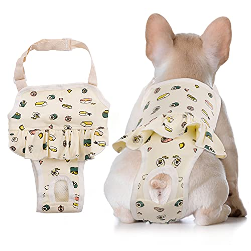 Dog Sanitary Panties with Suspenders,Adjustable Pet Underwear Diaper for Male Female Dogs,Physiological Pants Cotton Jumpsuit Briefs for Teddy Corgi French Bulldog Machine Washable (Medium, Yellow)