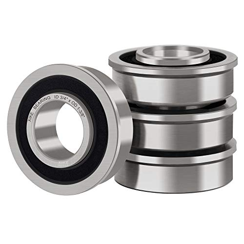 """XiKe 4 Pcs Flanged Ball Bearings ID 3/4"""" x OD 1-3/8"""", Applicable Lawn Mower, Wheelbarrows, Carts & Hand Trucks Wheel, Replacement 532009040, AM118315, AM127304, 10513, 251210 Etc."""