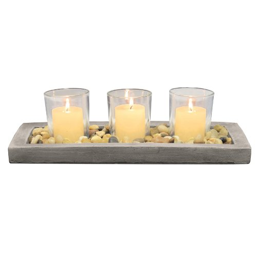 Briarwood Cement Votive Holder Tray, Natural