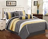 Chezmoi Collection Sunvale 7-Piece Yellow Grey White Embroidery Comforter Bedding Set, Queen