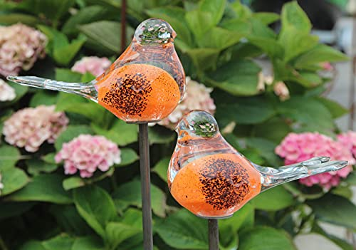 Bornhöft 2er Set Gartenstecker Glasvogel Deko Beetstecker Handarbeit Skulptur Vogel 1 (Orange Schwarz)