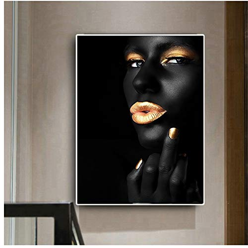 Perfil de lienzo mujer negra africana pintura al óleo carteles e impresiones de labios dorados atractivos cuadro de arte de pared para decoración de sala de estar 40x60cm (16x24in)