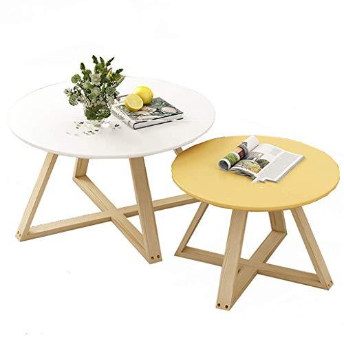 AOIWE Mesas de centro redondas, combinación de mesa de centro de estilo japonés, juego de mesa con incrustaciones de madera, mesa auxiliar, para sala de estar, dormitorio, balcón, 9 colores (color: C)