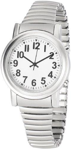 St. Leonhard Sprechende Uhr: Sprechende Seniorenuhr mit Funk und Solar, versilbert (Sprechende Armbanduhr)