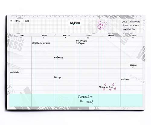 Semanario A4 32x22 - Planner Semanal Agenda de Mesa con Hojas Arrancables - Organizador de Tareas y Citas