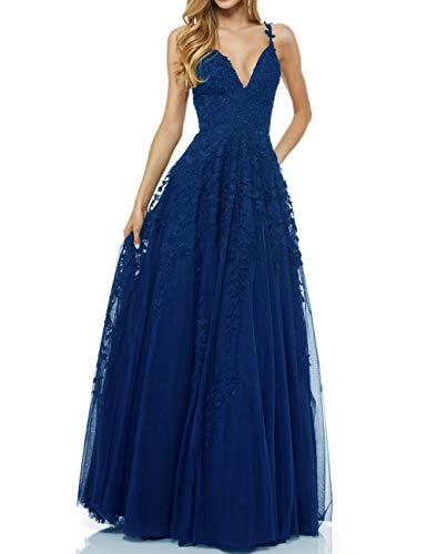 LuckyShe Damen Sexy V-Ausschnitt Abendkleider Ballkleid Elegant für Hochzeit Lang 2018 Königsblau Größe 36