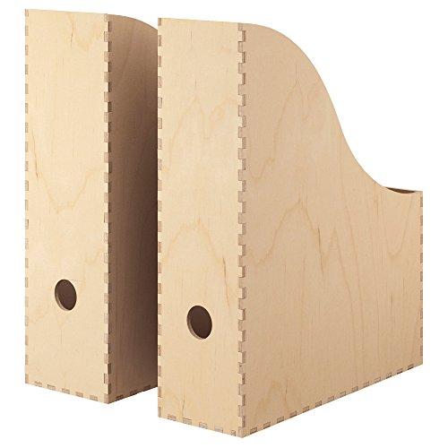 """IKEA Zeitschriftensammler \""""KNUFF\"""" Holz-Aufbewahrungsbox im 2-er Set - 9x24x31cm und 10x25x31cm"""