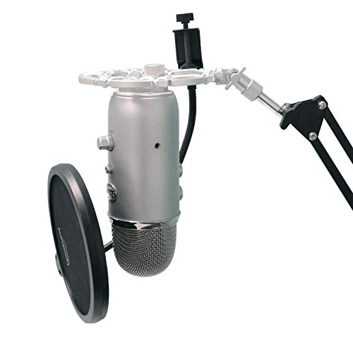 Silver Shock Mount For Blue Yeti and Blue Snowball Mics Eliminates Noises From External...