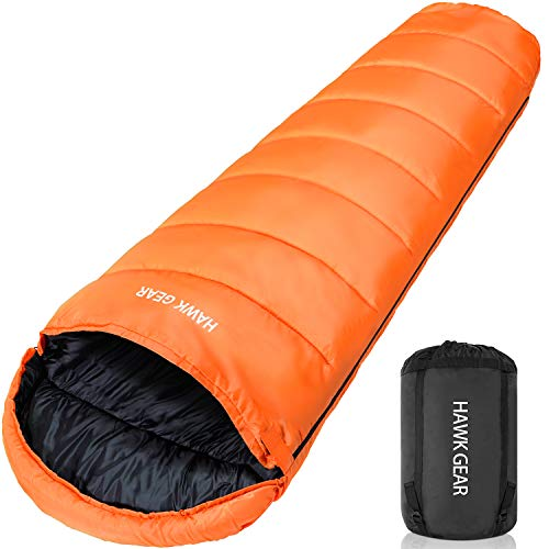 [HAWK GEAR(ホークギア)] 丸洗いできる寝袋 マミー型 シュラフ -15度耐寒 簡易防水 オールシーズン (オレンジ(amazon限定カラー))