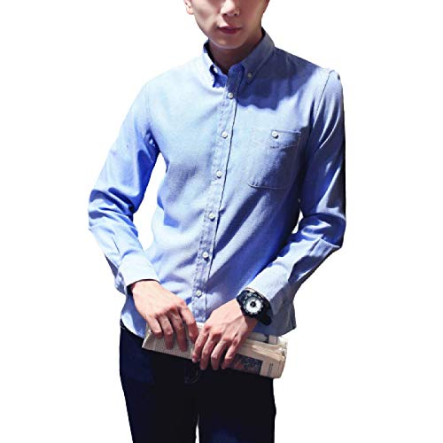 Camisa de Solapa para Hombre Camisa clásica de Manga Larga Informal de Negocios de Corte Regular de un Solo Pecho de Color sólido Four Seasons 3X-Large