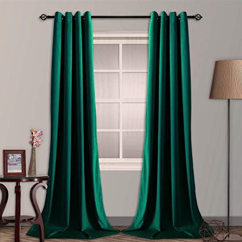 SNITIE Emerald Green Velvet Blackout Curtains with Grommet, Super Soft Thermal Insualted Noise Reducing Thick Velvet Drapes for Living Room and Bedroom, Set of 2 Panels, 52 x 96 Inch Long