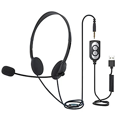 TINGDA USB Headset With Microphone, Lightweight Computer Headset Wired Noise Cancelling Headphones, In-Line Control 3.5mm Jack Call Center Headset for Skype Mac PC Mobile Phone, Online Conference by MF.,LTD