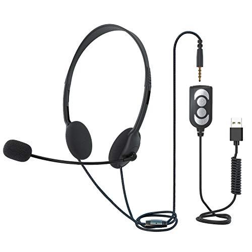 TINGDA USB Headset mit Mikrofon, leichtem Computer Headset, kabelgebundenen Headphone mit Noise Cancelling, Inline Steuerung 3,5mm Callcenter Headset für Skype Mac PC Mobiltelefone, Online Konferenz