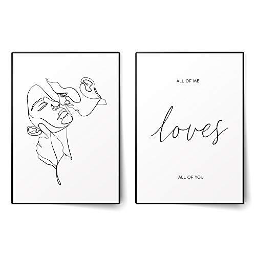 BLCKART - Juego de pósteres de gran calidad, sin marco, Kiss Duo, A3