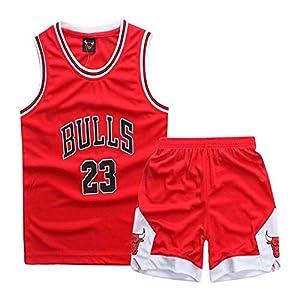XCJ Tシャツ メンズ キッズ パーカーバスケロング 練習着上下セット、カレージャージ神戸半袖ジェームスTシャツ赤いスポーツスーツ子供用バスケットボールユニフォームスーツ (A9,XS)