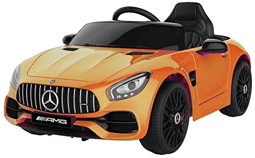 Tecnobike Shop Auto Macchina Elettrica per Bambini Mercedes AMG GT 12V Porte Apribili Full Optional con Telecomando Sedile in Pelle Porte Apribili Ali di Gabbiano LED Luci Suono Mp3 (Arancio)