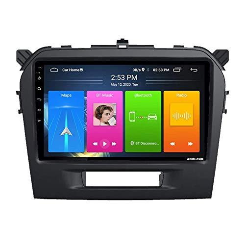 Unidad De Cabeza De Doble Din Con Radio Automática De 9 Pulgadas Para Suzuki Vitara 2015-2018, Reproductor Multimedia Android 8.1, Navegación GPS/Bluetooth/FM/Control Del Volante/Cámara Trasera